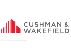 Cushman & Wakefield logo: grey text and red vector building to the left hand side. Corporate florist, event flowers, office flowers, sustainable florist, Central London florist, Local florist, Soho Florist, Contemporary Floral Display. Weekly Office Flowers; Weekly Flowers; Weekly Contract Flowers; Reception Desk Flowers; Office Reception Flowers.