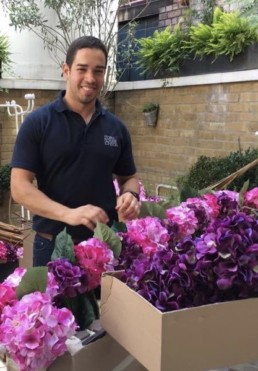 Photograph of Storm Flowers team member smiling behind arranged pink and purple hydrangeas in cardboard boxes. Office plants, corporate plants, plant maintenance, roof garden, courtyard. Landscape maintenance Sustainable planting; Pesticide Free; Balcony design; urban garden design.