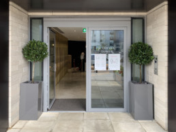 Photograph of two bay trees in tall, grey planters on either side of an open doorway of Carrara Tower in Islington, London. Interior design; landscaping; sustainable planting; plant design; Landscape Design; Courtyard Planting; Plant Maintenance; Soho Florist