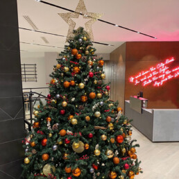 Photograph of an 8ft artificial Christmas tree decorated in Nordic theme decorations with a gold star: orange, red, grey and gold baubles with artificial red berries, cinnamon sticks, pinecones and oranges. Office Christmas Decor; Christmas decorations, Christmas florist, Office decorations, Xmas decorations, Christmas tree, Artificial Christmas tree, Real Christmas tree. Office Christmas; Christmas decorators Wreath making; bespoke Christmas Decor